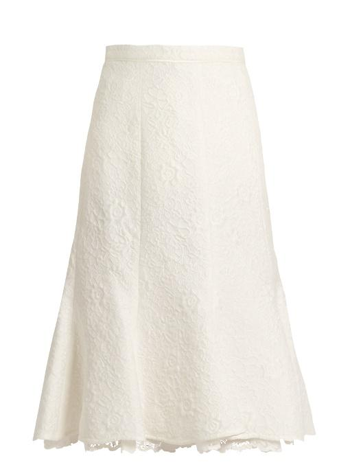 Oscar De La Renta Floral-cloquÉ Cotton-blend Skirt In White