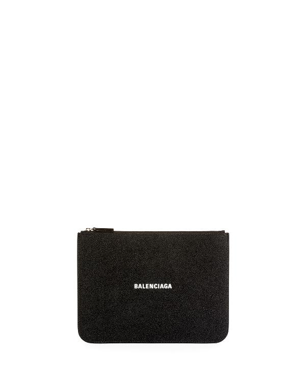 Balenciaga Everyday Glittered Calfskin Medium Pouch In Black