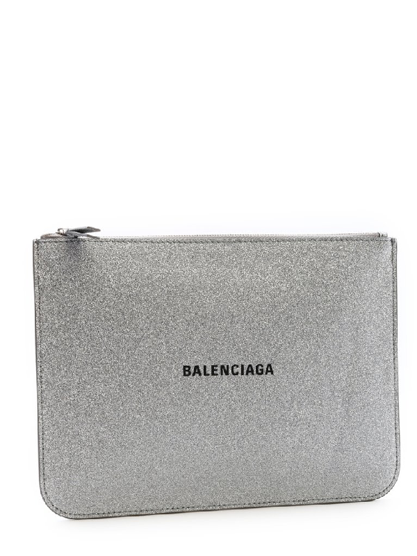 Balenciaga Everyday Glittered Calfskin Medium Pouch In Silver
