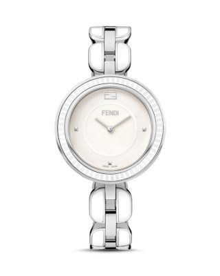 Fendi My Way Blue Ceramic And Stainless Steel Watch With Fox Fur Glamy, 36mm In White