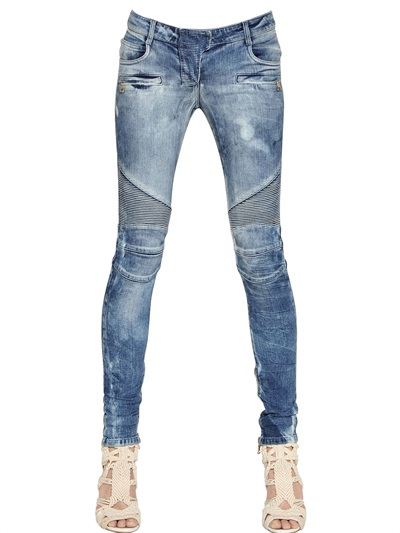 Balmain Tie Dye Stretch Denim Biker Jeans, Blue
