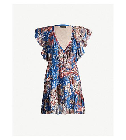 Dundas Printed V-Neck Silk-Blend Mini Dress In Blue Gold