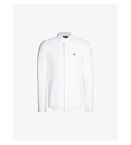 Emporio Armani Logo-Embroidered Regular-Fit Cotton-Twill Shirt In White