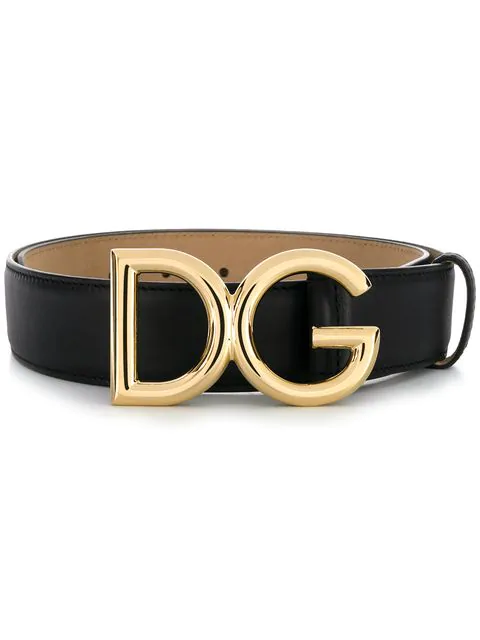 Dolce & Gabbana Interno Butterfly-Print Reversible Leather Belt W/ Logo Buckle In Black