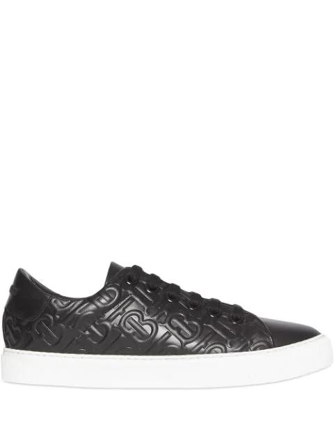 Burberry Albridge Tb Embossed Leather Sneakers In Black