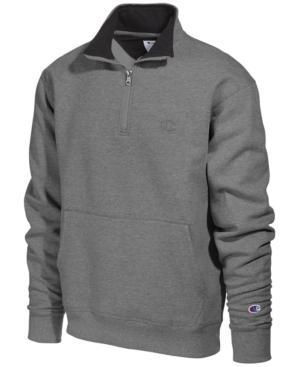 Champion Men's Powerblend Fleece Quarter-zip Sweatshirt In Granite Heather