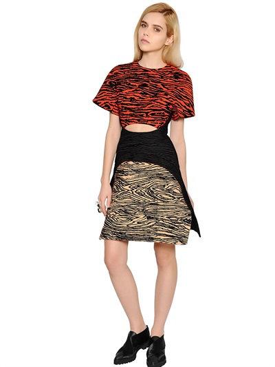 Proenza Schouler Flocked Viscose Crepe Suiting Dress In Multicolor