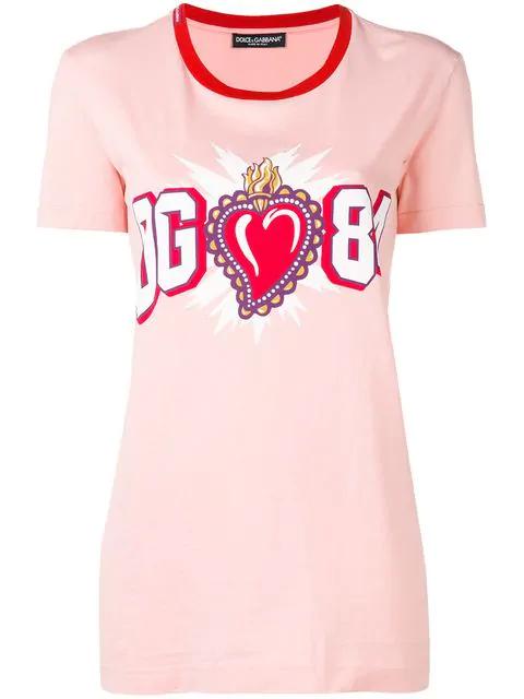 Dolce & Gabbana Sacred Heart Logo T-Shirt In Pink