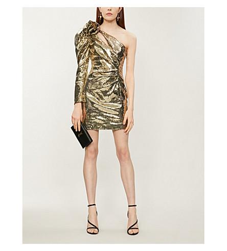Dundas One-Shoulder Sequinned Dress In Gunmetal