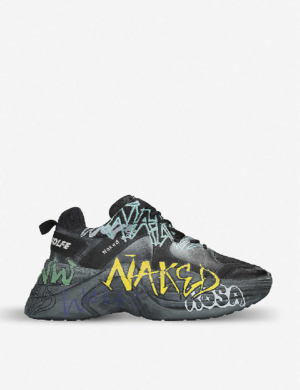 Naked Wolfe Titan Graffiti Leather And Mesh Trainers In Black/comb