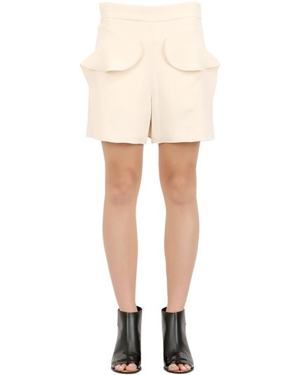 ChloÉ Textured Light Cady Shorts In Beige