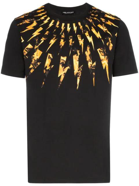 Neil Barrett Men's Short Sleeve T-shirt Crew Neckline Jumper Flame Fair-isle Thunderbolt In Black