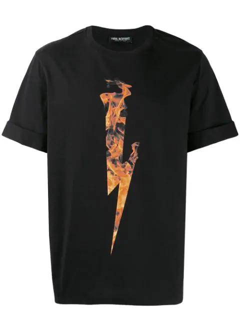 Neil Barrett Men's Short Sleeve T-shirt Crew Neckline Jumper Flame Thunderbolt In Black
