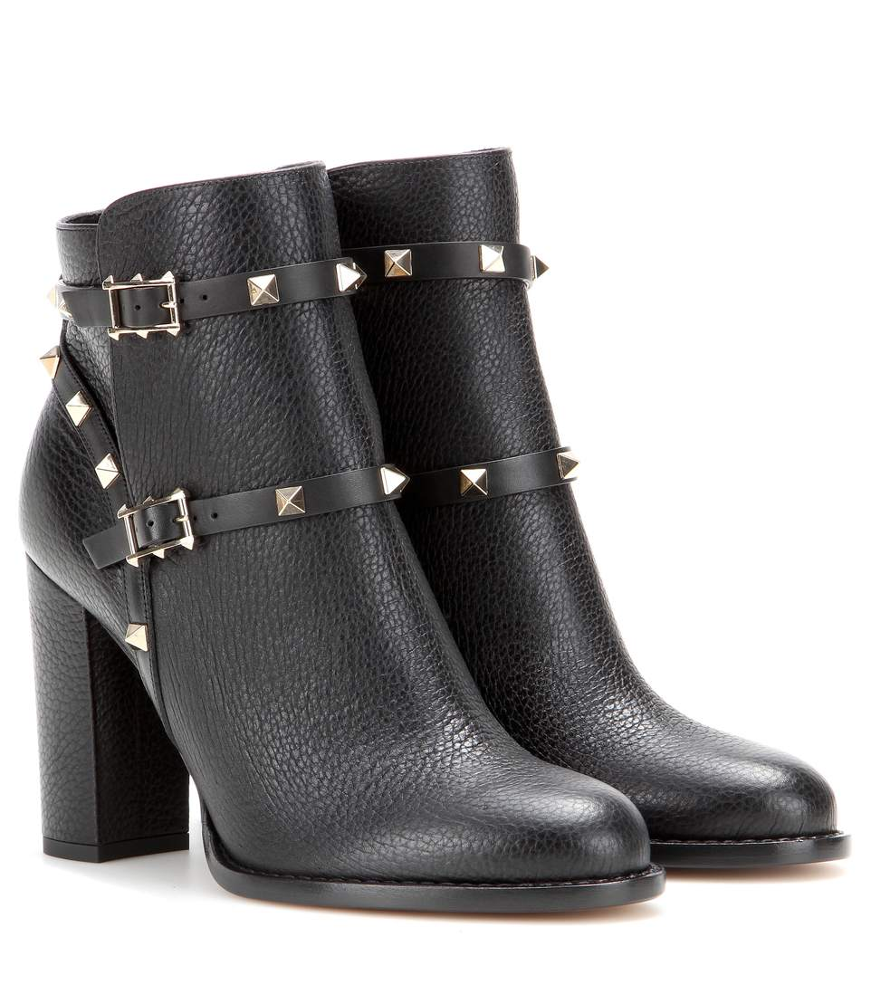 Valentino Rockstud 100 Black Leather Ankle Boots