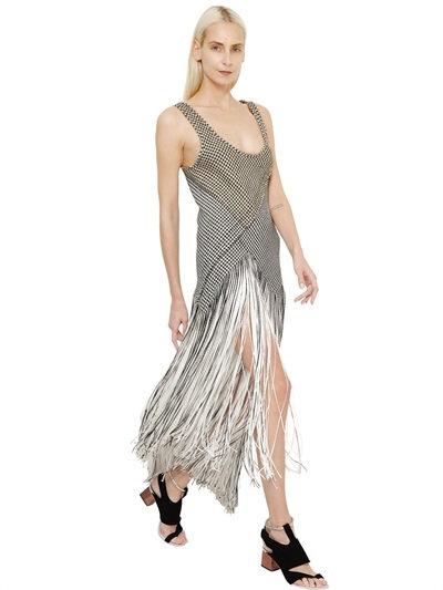 Proenza Schouler Fringe-Skirt Houndstooth Dress In Black/Beige