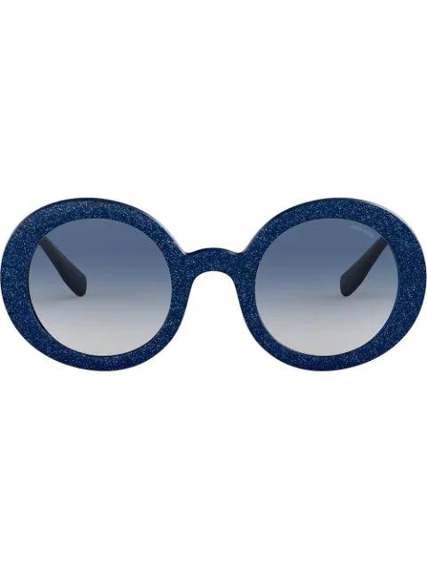 3963d0a6dd18 Miu Miu Eyewear Divisa Glitter Round Frame Sunglasses - Blue | ModeSens