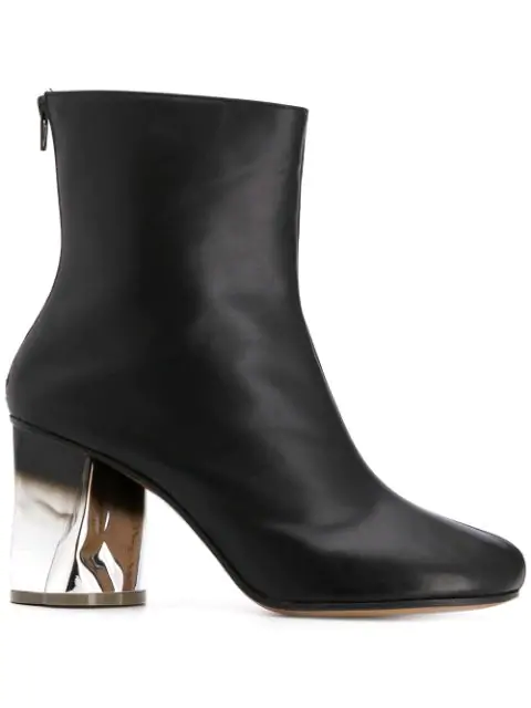 Maison Margiela 80Mm Crusched Heel Leather Boots In H7730 Silver/Black