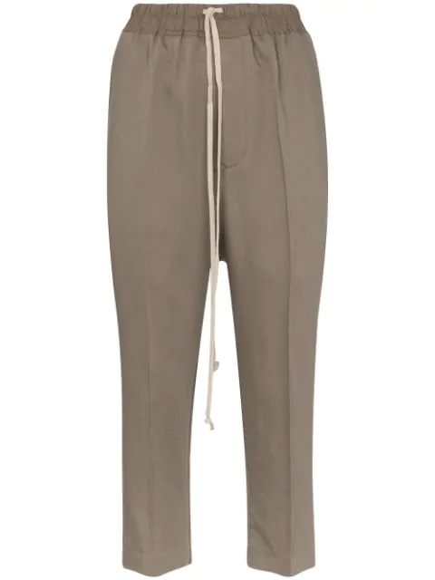 Rick Owens Drop-crotch Cropped Trousers In Grey