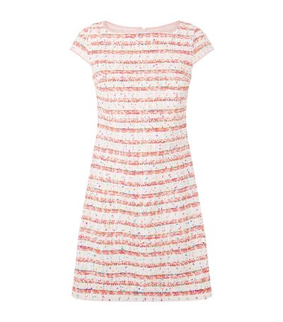 Boutique Moschino Striped Tweed Dress In Pink