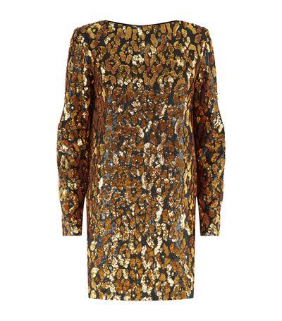 Balmain Contrast Leopard Print Dress In Gold