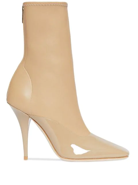 Burberry Lambskin And Patent Leather Ankle Boots In Dark Honey