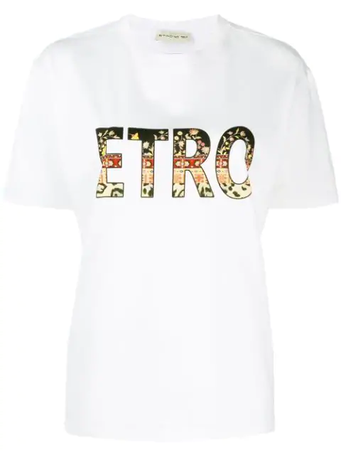Etro Over Logo Printed Cotton Jersey T-Shirt In White