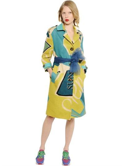 Burberry Artwork Printed Linen Canvas Coat In Yellow