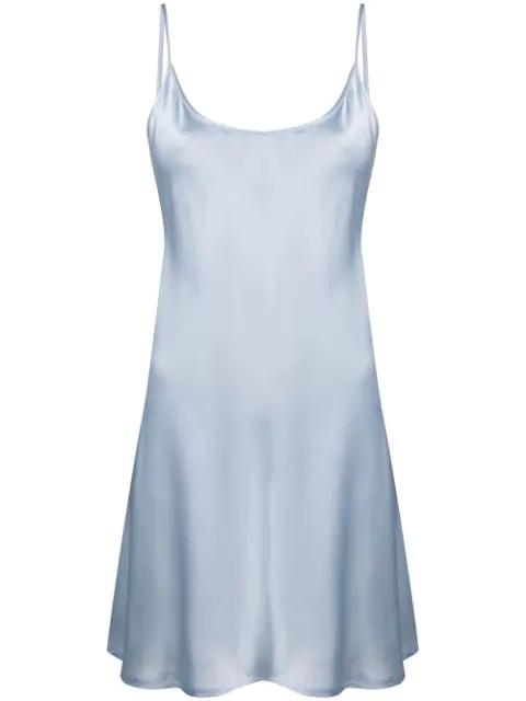 La Perla Silk Short Slipdress In Blue