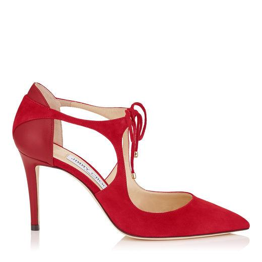 Jimmy Choo Vanessa Flat Red Suede And Nappa Pointy Toe Flats