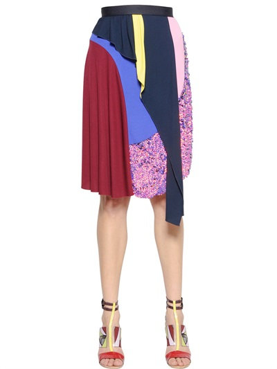 Peter Pilotto Layered & Embellished Viscose Knit Skirt In Multicolor