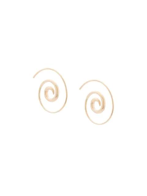 Noor Fares 18kt Yellow Gold Swirl Hoop Earrings