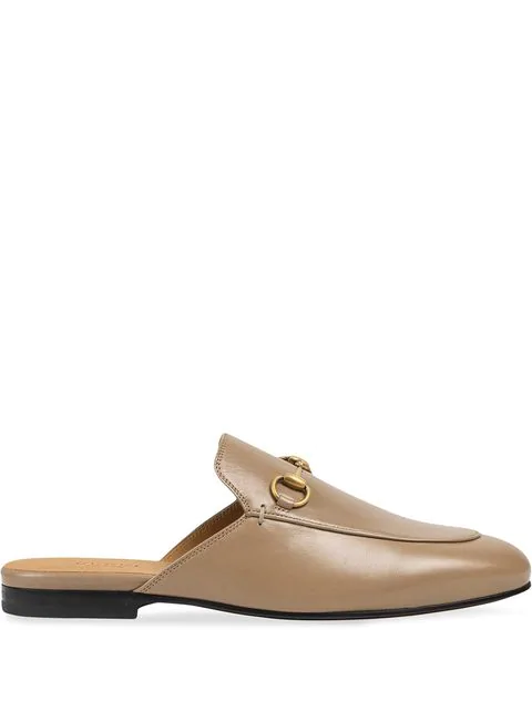 Gucci Women's Princetown Leather Slipper In Brown