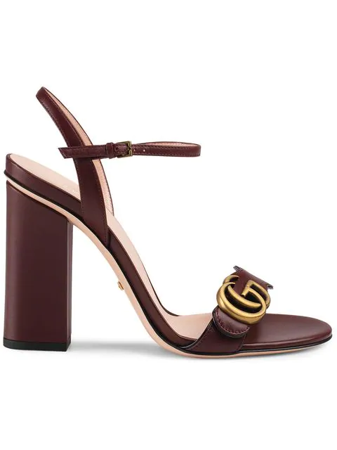 Gucci Leather Sandal With Double G In Red