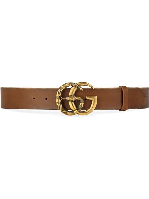 Gucci Leather Belt With Double G Buckle With Snake In 2535 Brown