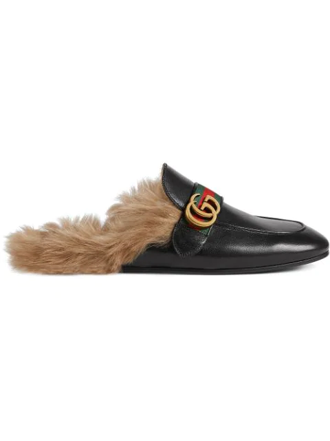 Gucci New Princetown Fur-Lined Leather Slippers In Black