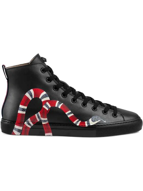 Gucci Leather High-Top With Snake In 1061 Nero