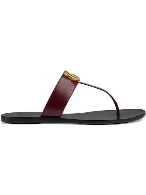 Gucci Leather Thong Sandal With Double G In Red