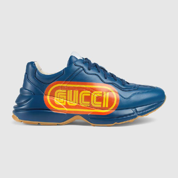 Gucci Rython Sega Leather Trainers In Blue Leather
