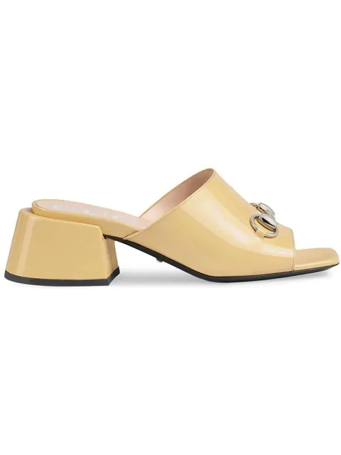 Gucci Patent Leather Mid-Heel Slide In Neutrals