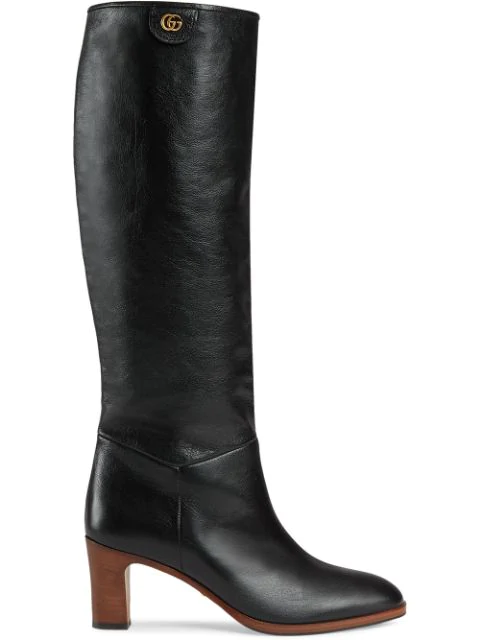 Gucci Leather Mid-Heel Boot In Black