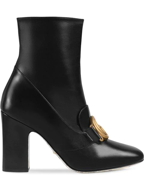 Gucci Leather Ankle Boot With Double G In Black