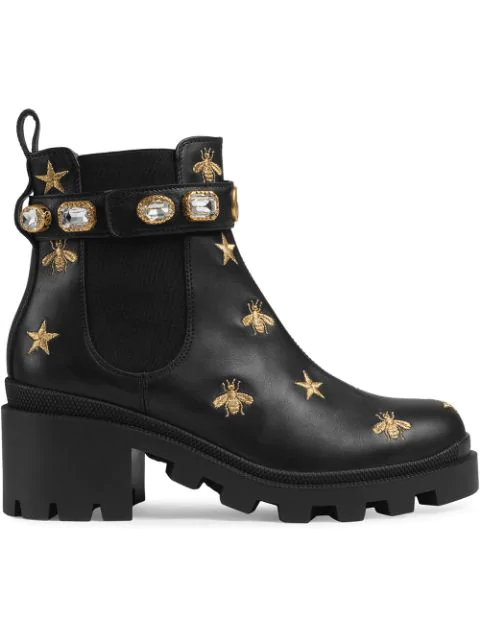 Gucci Embroidered Leather Ankle Boot With Belt In Black