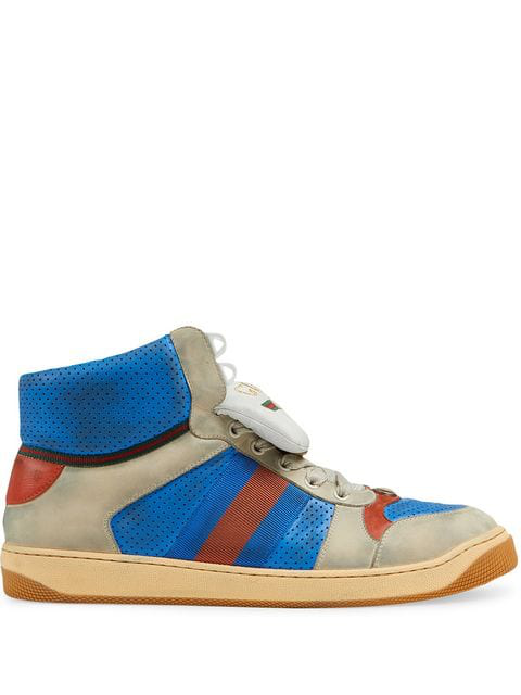 Gucci Men's Screener Leather High-Top Sneaker In Blue