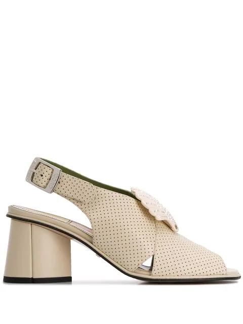 Gucci Shell-Embellished Leather Slingback Sandals In White