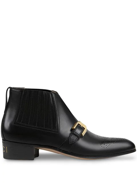 Gucci Women's Leather Ankle Boot With G Brogue In 1000 Black