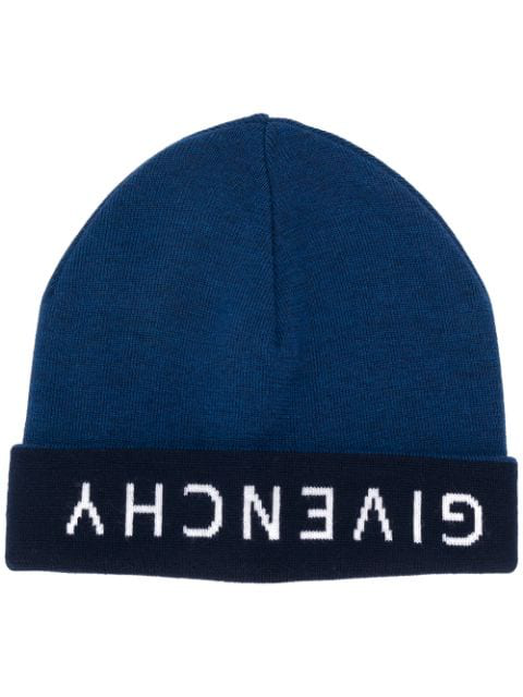 Givenchy Logo Reversible Beanie Hat In Blue