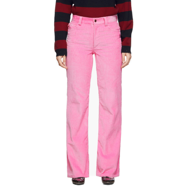Marc Jacobs The Flared Wide-Leg Corduroy Jeans In 650 Pink