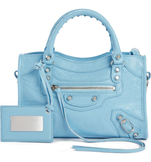 Balenciaga Mini Arena City Leather Satchel - Blue In Baby Blue/ Black