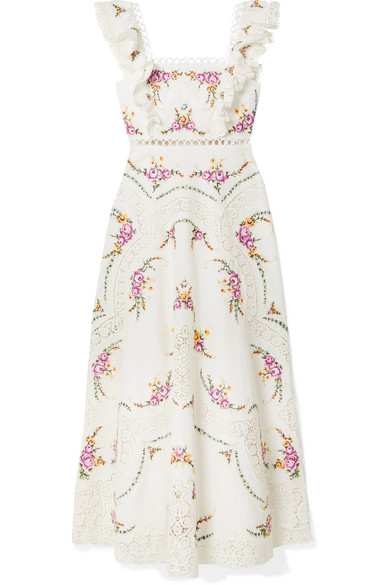Zimmermann Allia Lace-Trimmed Embroidered Linen And Cotton-Blend Maxi Dress In Ivory