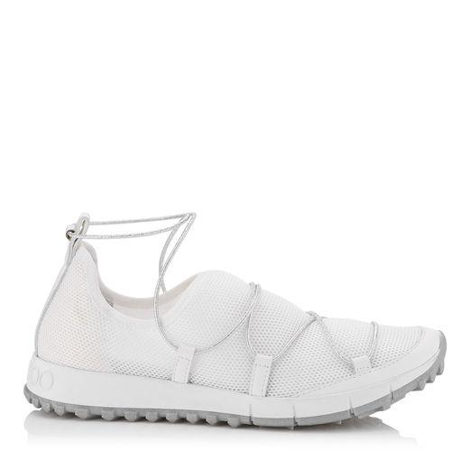Jimmy Choo Andrea White And Silver Fabric Trainers In White/silver